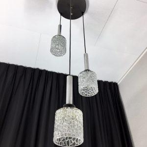 3 Light Pendent - Vintage 60's glass Lamp - Wila Germany