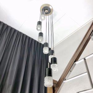 7 Light Pendent - Vintage 70's Lamp - VEB NARVA Leuchtenbau Lengenfeld - rare