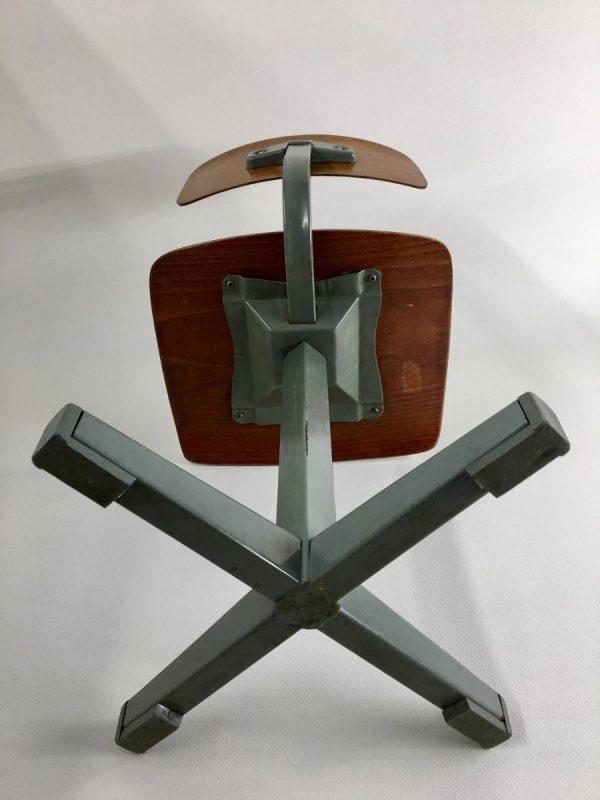 Dutch 80's Children's school chair - plywood metal Kids stool