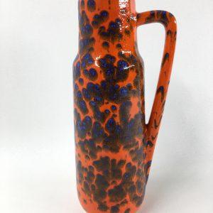 West Germany vase - 60/70's orange blue ceramic Scheurich 275-28