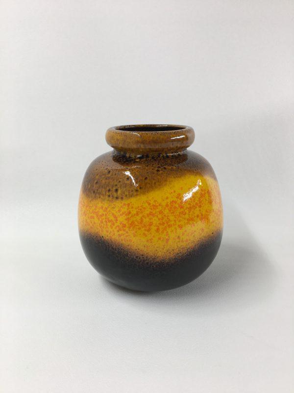 West Germany vase, 60/70's yellow orange brown ceramic Scheurich 284-19