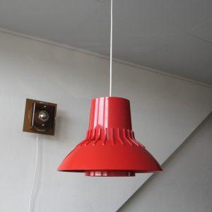 Red Nordisk Solar Compagni Lamp - Sven Middelboe - Space Age Pendent Light