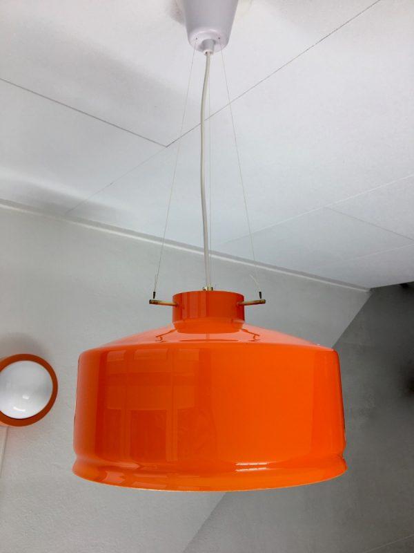 Aneta Växjö Sweden pendent light - vintage orange glass brass 70s lamp