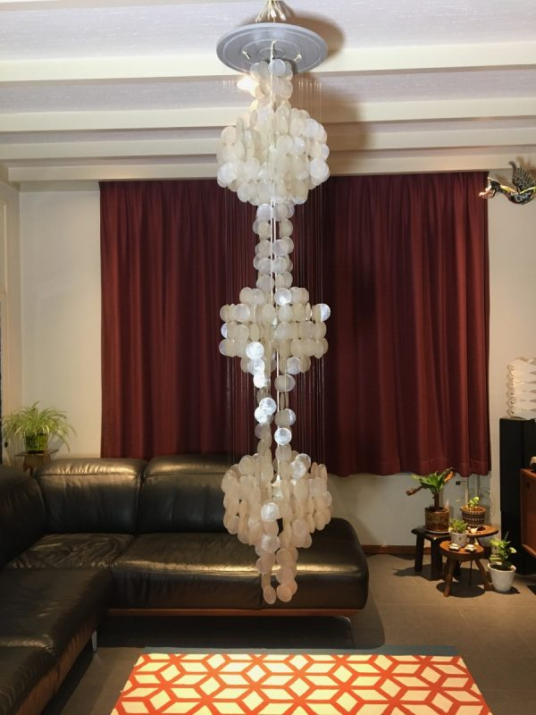 panton style Capiz 3 light - 78 inch - 70's Ibiza pendent lamp