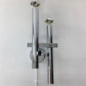 vintage modern design 2 light - Sciolari wall lamp - chrome metal Boulanger sconce