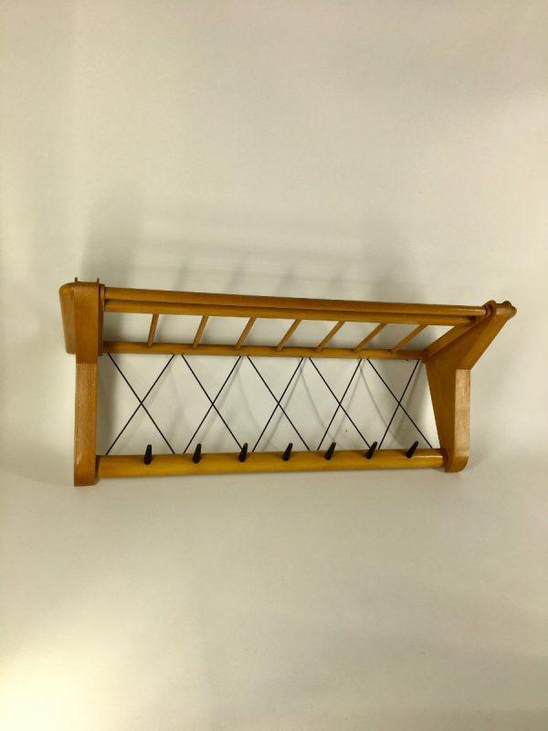 Vintage Electrimeufa no. 514 - Wassenaar Holland - 50's coat rack - retro wall hanger - plywood 1950s