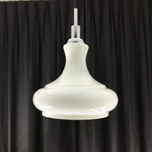 White Opaline glass chrome pendent light - vintage 70s lamp