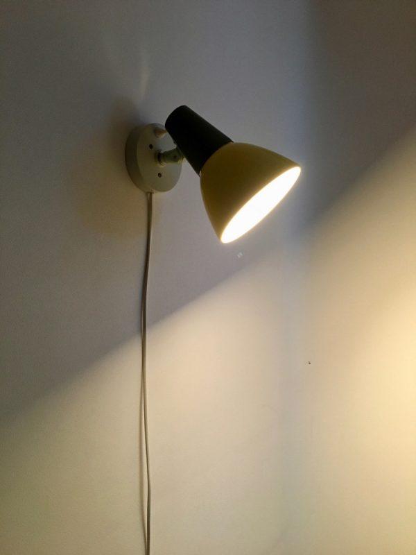 50's wall light - rare yellow Philips lamp - Louis Kalff