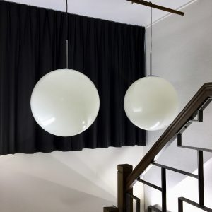 Set Bumet light Holland - Round pendent lights - 2 x white sphere lamp