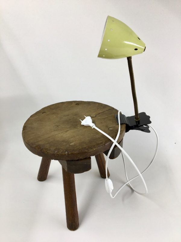 Yellow Hala Zeist 50's Asterisks pinch clamp lamp - Dutch clip light