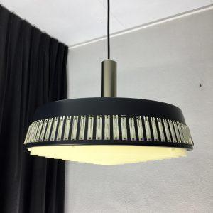 Mid Century design hanging lamp - 60's modern pendant light - stainless steel - glass