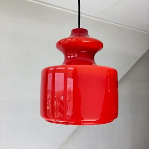 Peill & Putzler Germany pendent light - vintage red glass 70s lamp