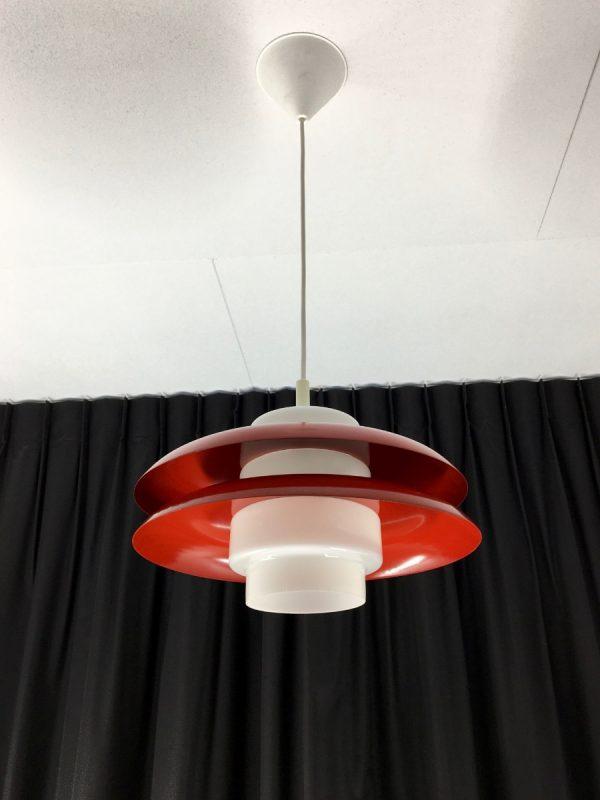 Rare 60's metal glass pendent light - E+S Moderne Leuchten - Mid Century lamp