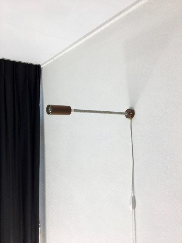 60's minimalistic gooseneck wall light - Dutch vintage Aluminium Hala Zeist lamp