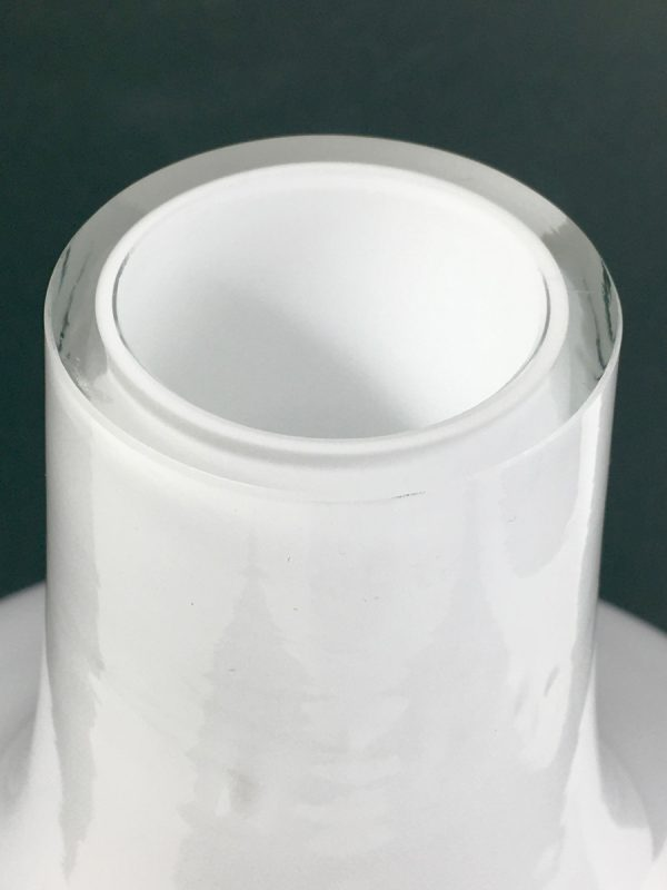 Glass space age vase - modern white opaline glass art piece
