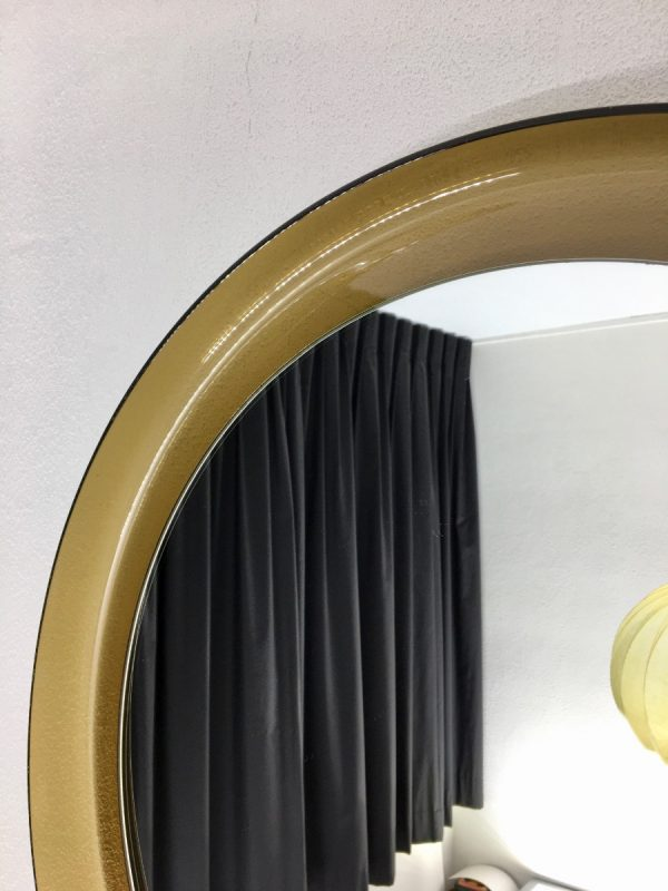 Guzzini Vintage Plexiglass Round Mirror - Space Age Brown 70's Retro Mirror - Made in Italy