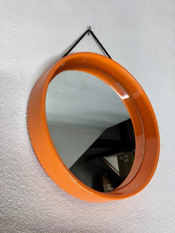 Space age round mirror - Vintage retro orange 70's mirror
