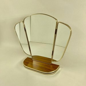 Vintage Midcentury Mirror, Triptych Formica Dressing Table, 60's 70's