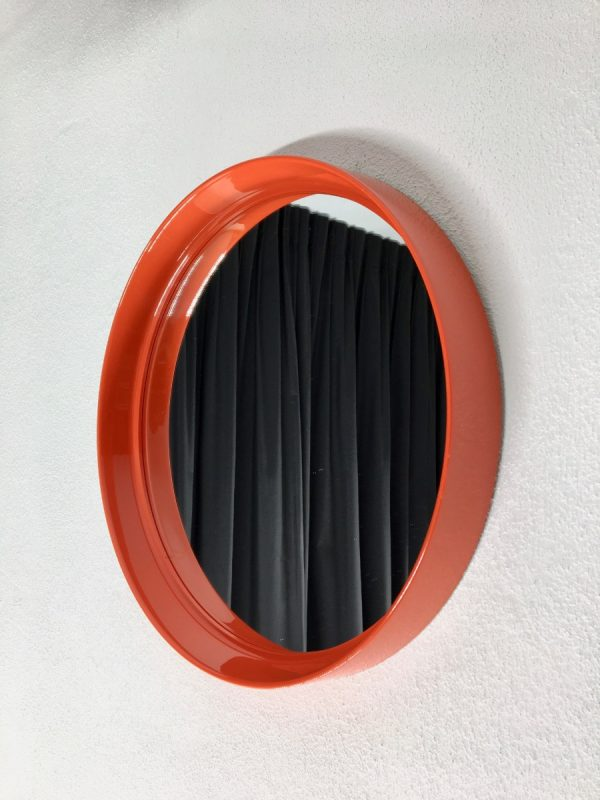 Vintage orange plastic mirror - Space age 70's retro