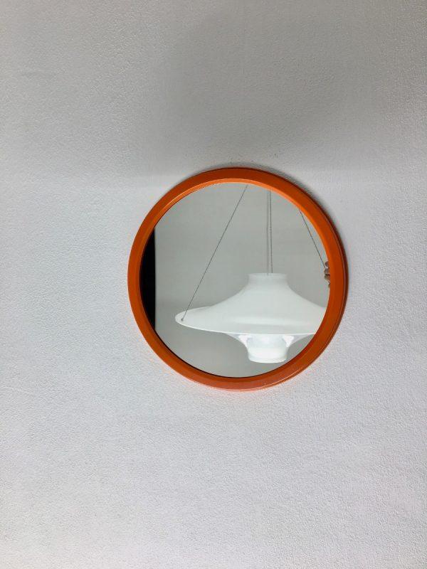 Dravo - orange metal frame mirror - vintage Dutch