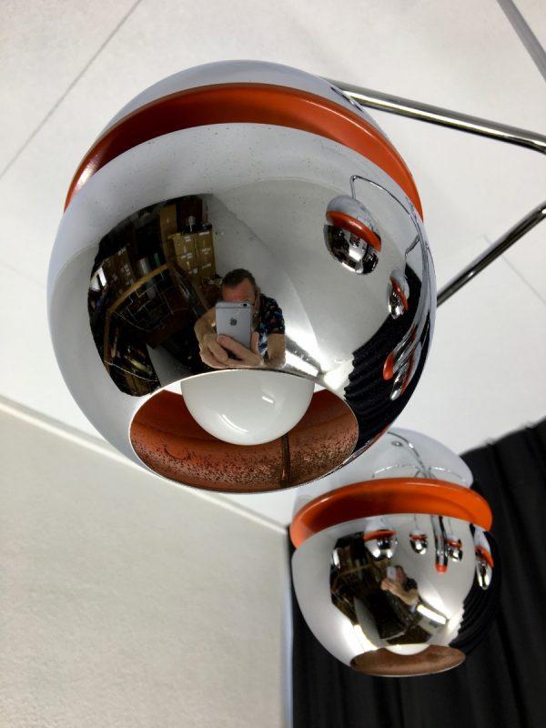 Massive Belgium 70's Space age light - vintage chrome metal ceiling lamp