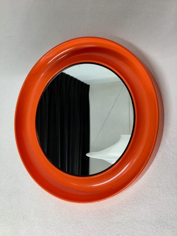 Orange 21 inch space age mirror Termotex - vintage 70's made in Denmark - pop art