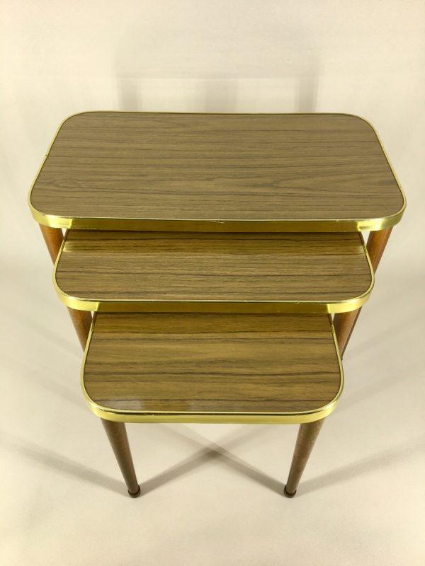 Set of 3 Vintage Midcentury Modern Nesting Formica Site Tables - Plant Stand - 60's / 70's