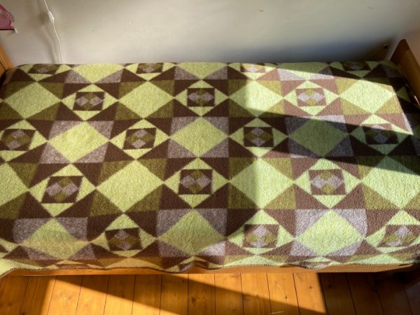 Vintage Dralon Acrylic plaid - Retro blanket 70's