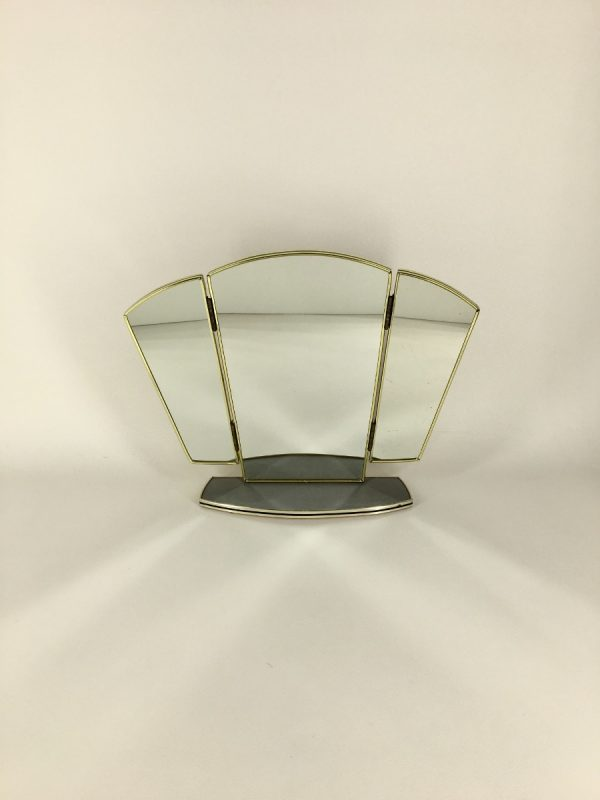 Grey Vintage Midcentury Mirror, Triptych Formica Dressing Table, 60's 70's