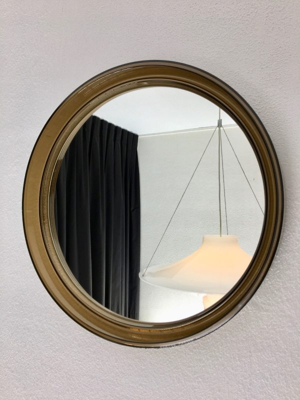 Vintage Plexiglass Round Mirror - Space Age Brown 70's Retro Mirror - Made in France