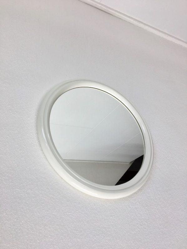 White Vintage Mirror - Space Age round 70's Mirror - retro Tiger