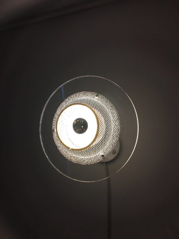 Harco Loor - wall light - 80's space age perforated metal lamp - Pilastro modern style