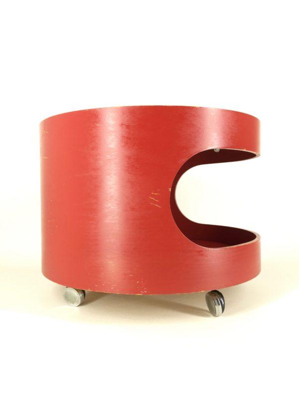 Opal Kleinmobel - space age side table - Wood glass German round coffee table - cupboard on wheels - panton era