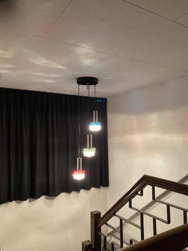 Massive Belgium 70's glass 3-light - Space Age chrome cascade pendant lamp