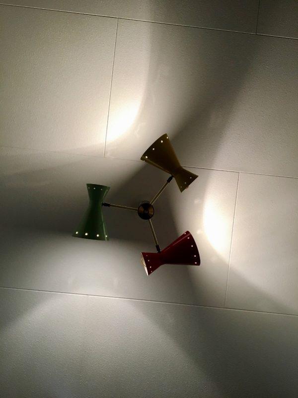 Busquet diabolo ceiling lamp - HALA Zeist 3 star light - Dutch design - vintage 50's xl pendant lamp