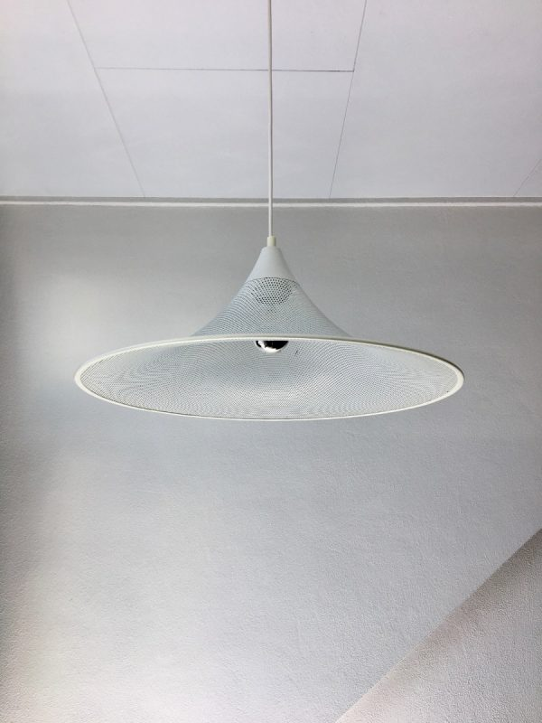 Modern witch hat pendent light - 70's white perforated metal lamp - Pilastro style
