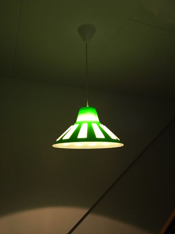 Rare Massive space age pendent lamp lime green UFO light