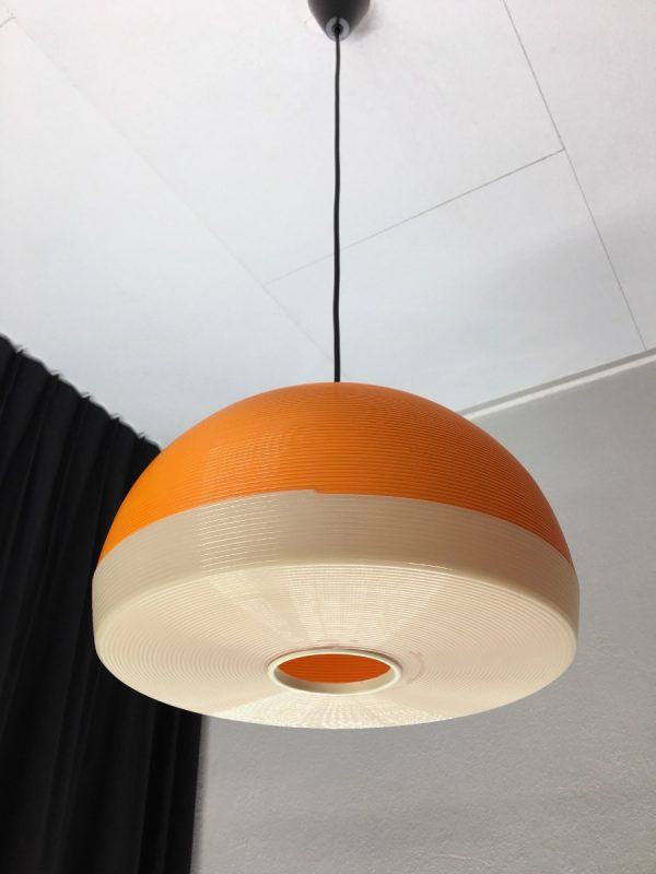 Rotaflex hanging lamp - 60's modern mid century design pendant light - orange Rockabilly