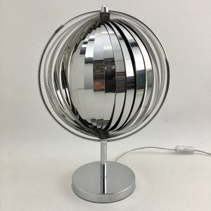 Rare moon lamp - chrome metal table light - modern 80's vintage - Kare design - Verner Panton - DOM Christian Koban