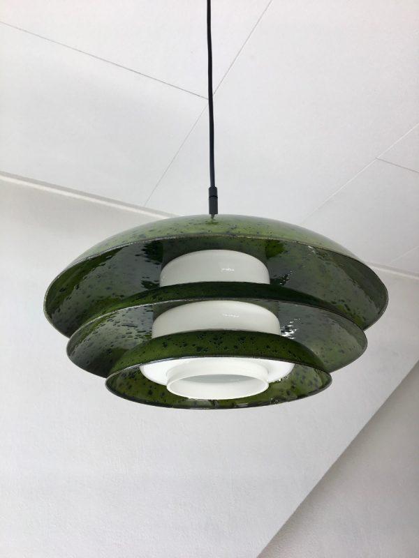 Rare 60's enameled metal glass pendent light - Hustadt Leuchten - Mid Century space age lamp