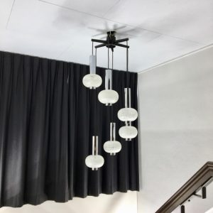Vintage Solken-Leuchten 6 light - 70's Space age glass chrome cascade pendant lamp