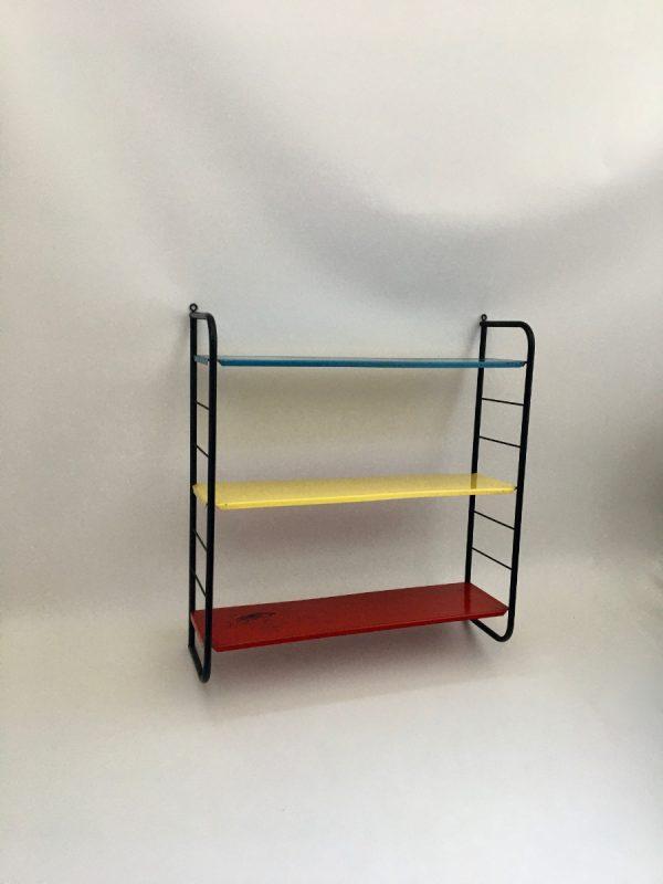Vintage metal Shelf - Dutch iron Bookshelf - primary colors - rare wall rack