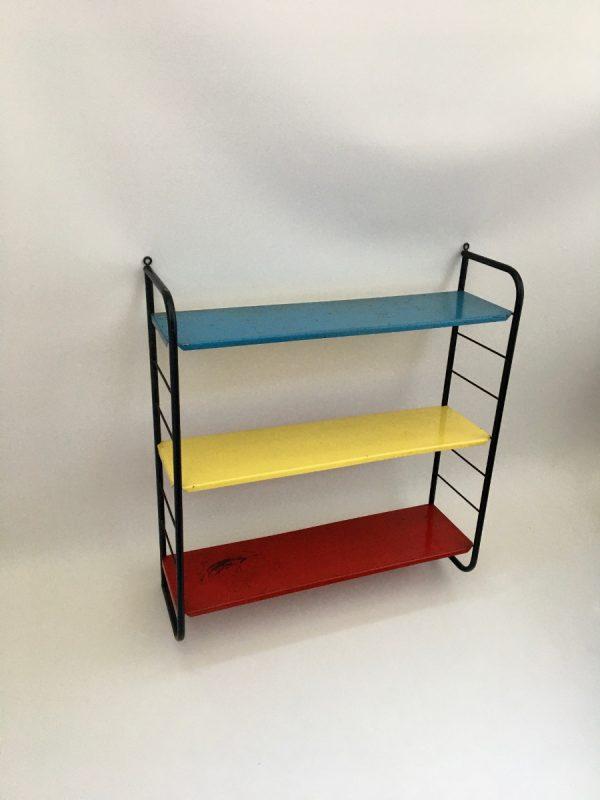 Vintage-metal-Shelf-Dutch-iron-Bookshelf-primary-colors-rare-wall-rack-echtvintage-echt-