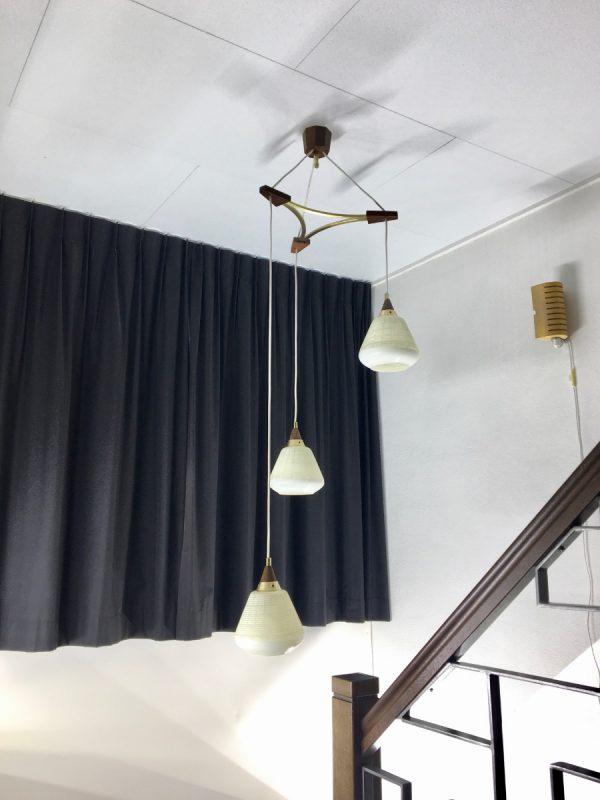 50's classic pendent 3 light - wood brass glass - Dutch Mid Century stairwell lamp