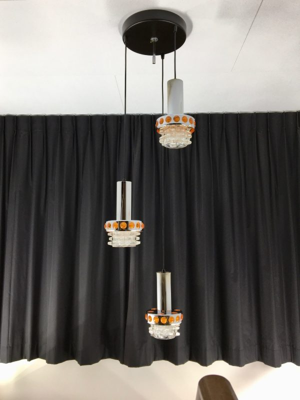 Space age chrome cascade pendant lamp - Massive Belgium 70's glass 3-light