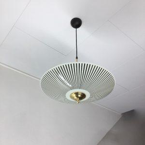 50's glass hanging lamp - vintage brass ceiling lamp - Dutch retro disk light