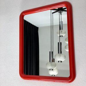 Rare rectangle red vintage Finnmirror - Space Age 70's plastic Mirror - Retro made in Finland
