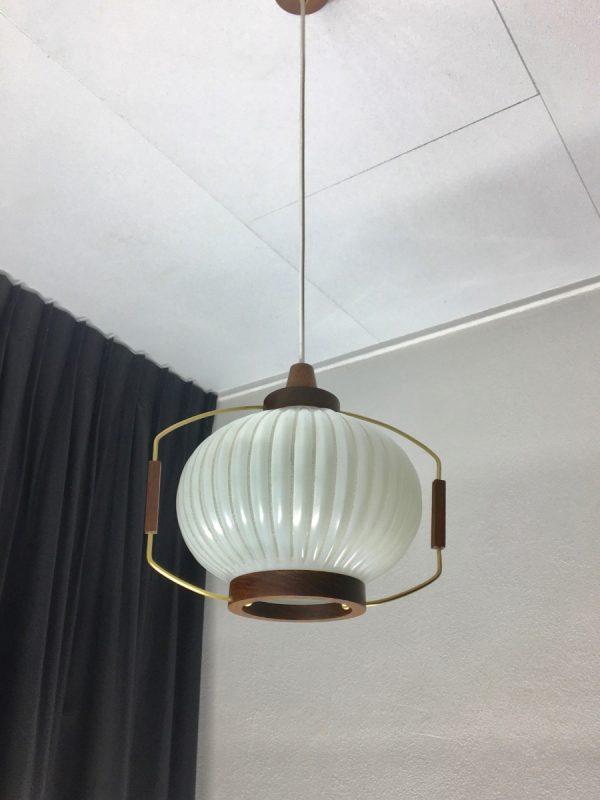 Classic pendent light - wood brass glass - Dutch Mid Century vintage 60s lamp