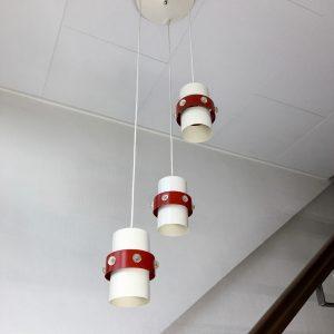 vintage space age 3 light pendant - Dijkstra Lampen 70's metal two tone lamp funky rare UFO