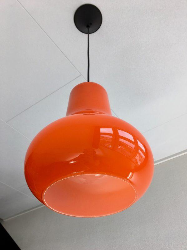 echt vintage orange glass 70s hanging lamp - pop art opaline pendent light - retro